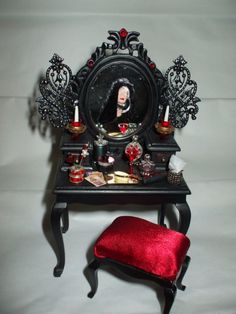 Gothic Witch dollhouse vanity ooak by MidnightsDreams on Etsy