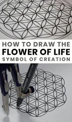 Mandala Art Lesson, Mandala Artwork, Mandala Painting, Easy Mandala Drawing, Sacred Geometry Symbols, How To Draw Sacred Geometry, Geometric Drawing, Geometric Art, Doodle Art Designs