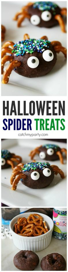 Halloween Donut Spider Treats | CatchMyParty.com