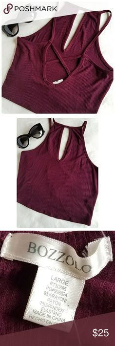 Casual halter crop top Beautiful crop top. Front key hole and back criss cross for design. Measures about 15 inches from top to bottom and about 14 inches across the chest. The color is wine. (NWT) sorry no trades. Smoke free home. Ships same day. Thank you for checking out my closet:) Content fiber  93% rayon  7% spandex Tops Crop Tops