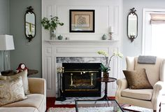 Astonishing Decoration Gray And Green Living Room Photo By Leah Moss Interior By Amy Strunk - Living Room Ideas Living Room Green, Green Rooms, My Living Room, Living Spaces, Foyers, White Fireplace, Fireplace Mantle, Fireplace Moulding, White Mantel