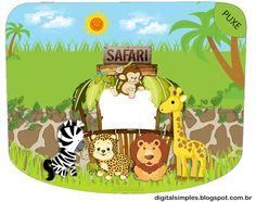 Tema Aniversário Infantil Festa Safári gratuito, pra Imprimir. Com caixinha milk, convite safári...