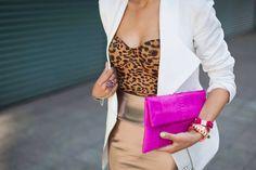 Leopard top + white blazer.