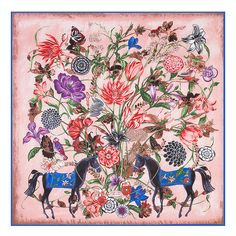 e2e0e77d97ca2 Aliexpress.com   Buy European fashion new flowers horse design big square  scarves 130   130 from Reliable big square scarf suppliers on May queen  fashion ...