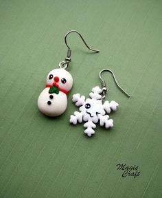 Orecchini in Fimo Pupazzo e fiocco di neve, Polymer Clay snowman and snowflake earrings
