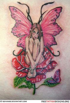 Fairy Tattoo♥ sitting on a mushroom instead of a rose and different colors