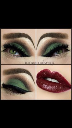 Nice combination of a brave green and dark red lip colour.