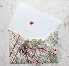 Handmade Map Envelopes set of 4 from upcycled by petitefabrique, €5.00