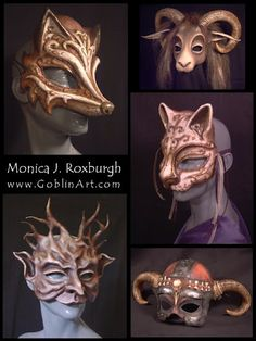 Magnificent Masks & Quaint Curiosities by Monica J. Roxburgh Portland, OR Magnificent Masks & Quaint Curiosities by Monica J. Roxburgh Portland, OR Larp, Beste Mascara, Goblin Art, Creation Art, Cool Masks, Leather Mask, Masquerade Ball, Cat Masquerade Mask, Animal Masks