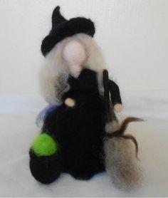 Needle felt waldorf inspired Witch Halloween by TheFeltedFey, £14.50