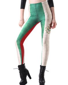 Portugal Flag Print Elastic Waistband Leggings TR0290057