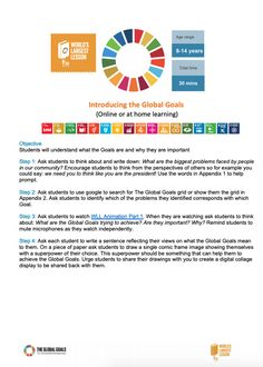 Students will understand what the Goals are and why they are important.  Student discuss about problems faced in the world today. Then students watch an introductory video and explore more on the website of the global goals. Students then reflect on what these goals mean to them, again, this can be through Flipgrid or other digital collaboration. Resources for Online and At Home Learning | The Worlds Largest Lesson #SDGs #Agenda2030 #GlobalGoals #sustainabilityeducation #distancelearning