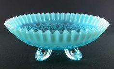 Jefferson Opalescent Glass Bowl | Jefferson Glass Wheel Pattern Blue Opalescent Bowl | Antique Glassware