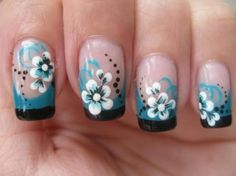nail-art-double-colored-french-tip-with-flower.jpg (582×436)