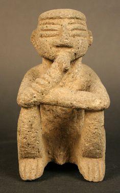 Figura antropomorfa masculina sedente: sukie, Huetar, Costa Rica, 1000-1500 d.C