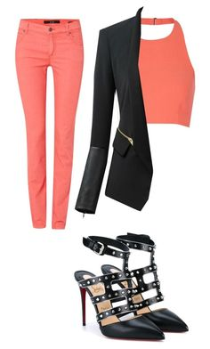 """Coral"" by projectalice5 on Polyvore featuring Oui, Elizabeth and James, Chicsense and Christian Louboutin"