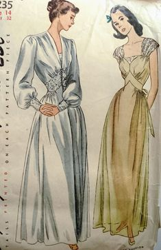 GLAM 1940s NIGHTGOWN, NEGLIGEE PATTERN LOVELY HOUSECOAT STYLE SIMPLICITY 2235 Clothing, Shoes & Jewelry - Women - Lingerie, Sleepwear & Loungewear - http://amzn.to/2kMZiFM