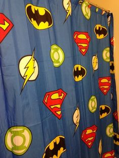 Shower Curtain With Multiple Superheroes Instead Of Just One Theme Batman Bathroom Superhero