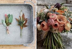 Fall Wedding Bouquet and Boutonnieres; Soft mocha, champagne tones, and romantic greyed pinks