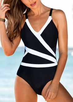 3e9b7a609f2b3 US$ 27.06 - V Neck Open Back One Piece Swimwear Cheap One Piece Swimsuits,