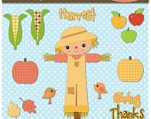 Instant Download Fall Harvest Digital Clip Art Web Design, Card Making, Scrapbooking, Kawaii - Personal and Commerical Use