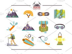 Climbing Icons Set by Red monkey on @creativemarket