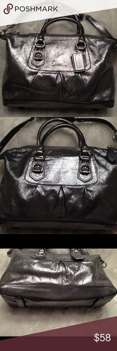 COACH Ashley Perforated Metallic Satchel COACH#C1182-F17130. Liner needs some cleaning but stain free. Good straps. Faint wear on the corners, not hardly noticeable due to color. Comes with a longer strap so it can be worn as satchel or shoulder bag. Measures 9x12 Coach Bags Satchels