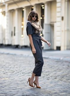 How To Rock an All Grey Look by Le Fashion  #BLOGGERS, #FALLWINTERINSPIRATION, #Fur, #Heels, #Jumpsuit, #Moda, #Sunglasses