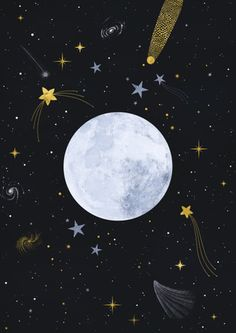 / art and illustration by carly watts / Wallpaper Space, Black Wallpaper, Galaxy Wallpaper, Wallpaper Backgrounds, Moon And Stars Wallpaper, 2017 Wallpaper, Art And Illustration, Iphone Wallpaper Illustration, Christmas Illustration