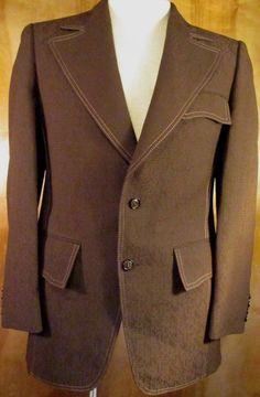 Circle S Western Cowboy Brown Velvet Blazer Sport Coat 2 Button Jacket Size 46l Profit Small Suits & Suit Separates