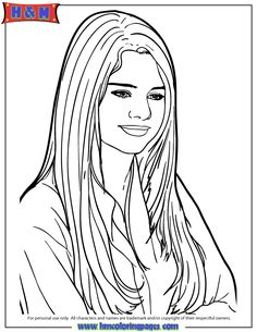 Selena Gomez Coloring Pages coloring 3 Pinterest Selena gomez