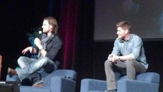 Comfortable chairs and they sit in the most uncomfortable positions possible. #SupernaturalCast #J2 #VegasCon