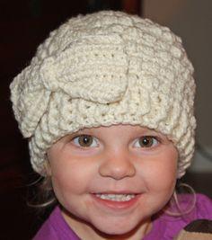 Girls Crochet Puff Stitch Beanie w/ Bow