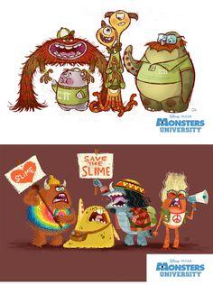 Concept Art by Chris Sasaki. Pixar Concept Art, Disney Concept Art, Monsters Ink, Cartoon Monsters, Disney Pixar, Arte Disney, Monster University, Character Concept, Character Art