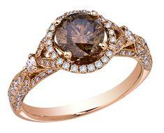 Steven Royce Designs brown diamond halo engagement ring