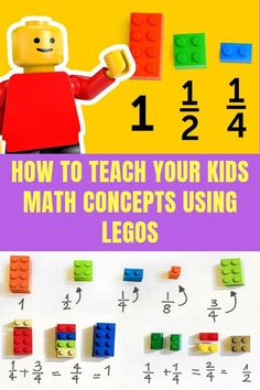 How To Teach Your Kids Math Concepts Using Legos! Use Lego bricks for teaching fractions, addition, multiplication, subtraction, graphing and more! Teaching Fractions, Math Fractions, Teaching Math, Fractions For Kids, Math For Kids, Fun Math, Math Activities, Math Math, Multiplication Activities
