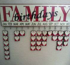 Family signs with birthdays & anniv