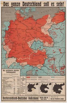 (It Should/Shall All Be Germany). A map from the showing German opposition to the Treaty of Versailles. Nazi Germany under Hitler started by recapturing all these areas. Historical Maps, Historical Pictures, Political Posters, Alternate History, Vintage Maps, Antique Maps, Old Maps, German Language, Modern History