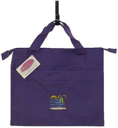 Tropical Beach Vaca Zip Banker Tote Bag Purple Palm Tree Yacht Sunset Monogram #LibertyBags #TotesShoppers