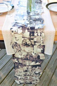 tischdeko hochzeit tischläufer schwarz weiße fotos vom brautpaar