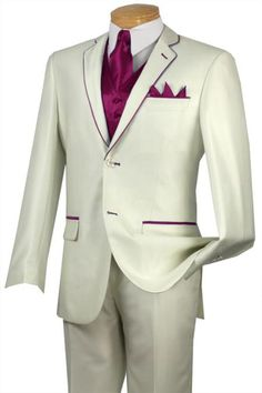 #Solid #white or #Ivory with #burgundy #trim #microfiber #two #button #notch #lapel #tuxedo.$585