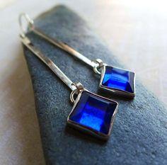 Cobalt Blue Sterling Silver Earrings, Long Dangly Silver Square Diamond Earrings - Blue Glass Cabochon Bezel Silver Earrings
