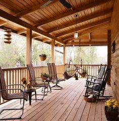 cabin Front Porch Ideas | Cioffis enjoy the morning sun with a cup of coffee on the back porch ...