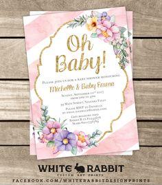 Gift Registry, Custom Art, Paper Goods, Baby Shower Invitations, Baby Baby, Babyshower, Pink Purple, Rsvp, Shower Ideas