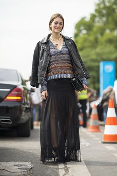 Street Style at Paris Haute Couture Fashion Week | Fall 2013 |On a steamy day, make a maxi more weather friendly by picking a sheer fabric. Source: Le 21ème | Adam Katz Sinding