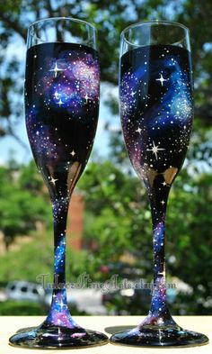 Hand Painted Cosmos Champage Glasses Galaxy by Amanda Tulacz outer space, space, galaxy, stars, nebula, milky way, wedding glasses, bride and groom glasses, champagne flutes, toasting flutes, wedding decorations, wedding ideas, geek wedding, nerd wedding, new years, new years eve, science wedding