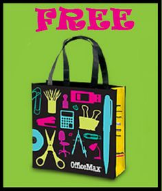 Free reusable tote bag for teachers at officemax