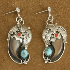 Genuine Bear Claw & #Turquoise Coral Sterling Silver Dangle Post Earrings.