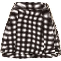 TOPSHOP Charcoal Gingham Mini Kilt Skort ($30) ❤ liked on Polyvore featuring skirts, mini skirts, shorts, bottoms, skort, topshop, charcoal, charcoal gray skirt, skort skirt and gingham skirts