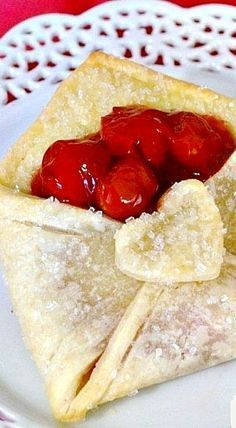 Cherry Pie Pastry Envelope - what a lovely pastry holder! You might also try different fillings: strawberries and cream, peaches, raspberries, blueberries, even puddings with whipped cream ❊